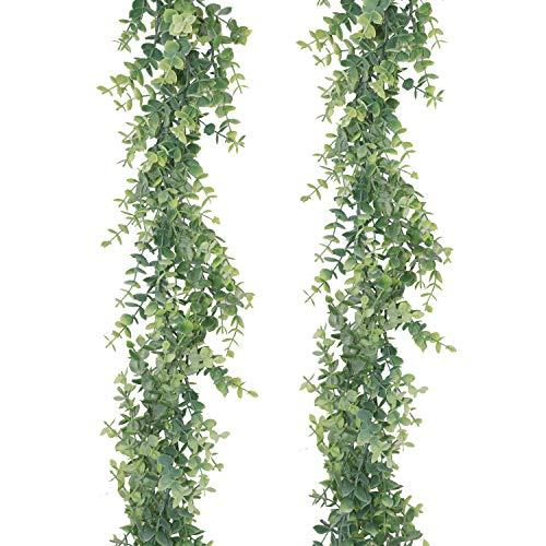 GraduatePro Eucalyptus Garland Artificial Foliage Fake Leaves 12ft Pack 2 for Wedding Party Christmas Home Decor Indoor Outdoor Thick