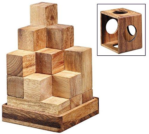 LOGICA GIOCHI Art. Tetris 3D – Cubo Soma - 100 en 1 - Rompecabezas 3D De Madera Preciosa - Dificultad 3/6 Difícil - Colección Leonardo da Vinci
