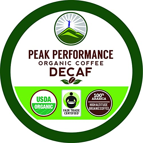Peak Performance Organic Decaf Coffee Pods - High Altitude USDA Organic Decaf Coffee. High Mental Performance Coffee. Fair Trade Beans Medium Roast Single Serve Decaffeinated. 24 Count Cups