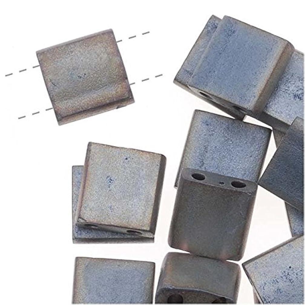 Miyuki Tila 2 Hole Square Beads Matte Metallic Silver Grey 7.2 Grams