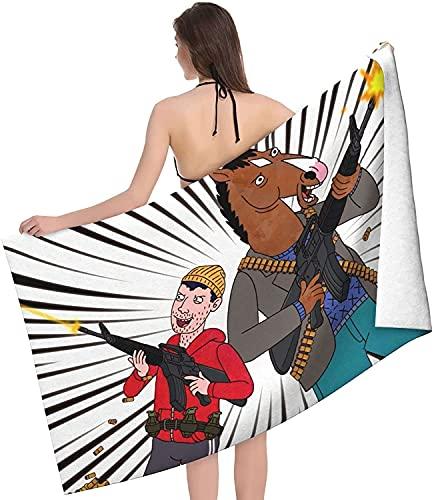 BoJack Horseman - Toalla de playa grande para niños, diseño de anime, secado rápido, accesorio para el hogar (4,100 cm x 180 cm)