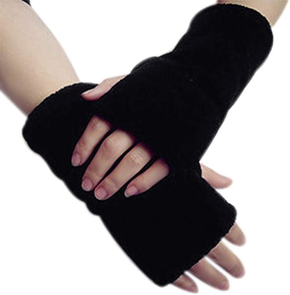 Winter Warm Faux Fur Fingerless Thumb Hole Gloves Mitten Driving Arm Hand Warmer