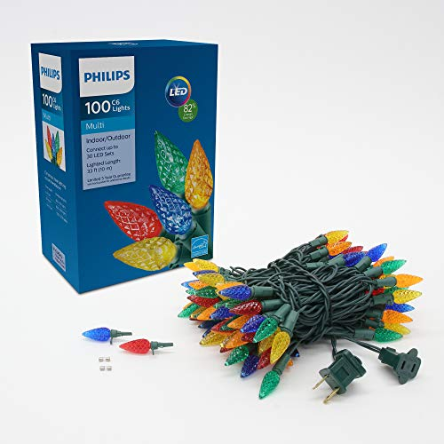 Philips Lichterkette mit 100 LEDs, mehrfarbig, facettiert, C6, mehrfarbig