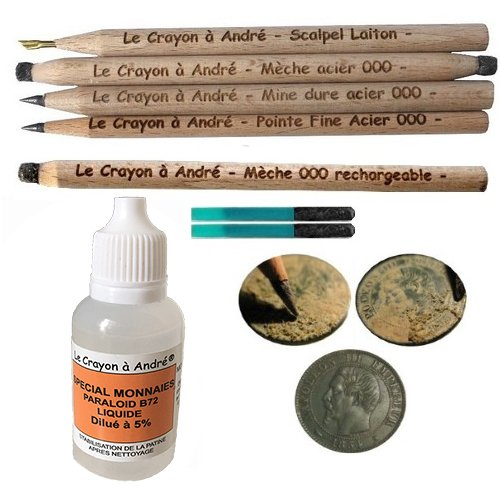 Kit completo para limpieza de monedas - 5lápices para restauración de metales y fijador