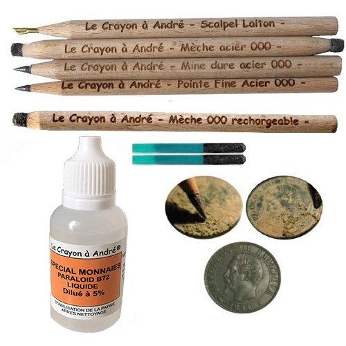 Reinigungsset für Münzen, 5Restaurationsstifte, Polierbürste, Versiegelungsmittel