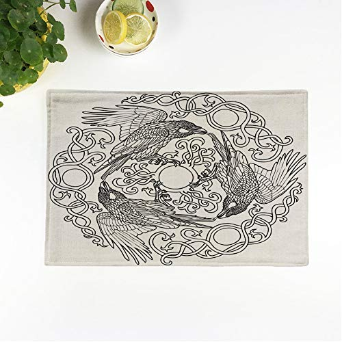 rouihot Set of 4 Placemats Pattern of Three Ravens Viking Fantasy Celtic Black Non-Slip Doily Place Mat for Dining Kitchen Table