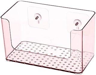 収納ボックス バスルーム無料パンチング壁掛けウォールラックバスルームトイレバニティ家庭用ラック化粧品収納ボックスバスルームトイレ棚洗面台透明棚 (Color : ピンク)