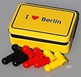 Hauptstadt-Magnet-Set'I love BERLIN' im Ortsschild-Look, 10 Universal-Magnete Neodym (bärenstark!-) in Deutschland-Farben, mit Metall-Box!