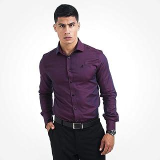 Camisa Social Masculina Slim Vinho 300101