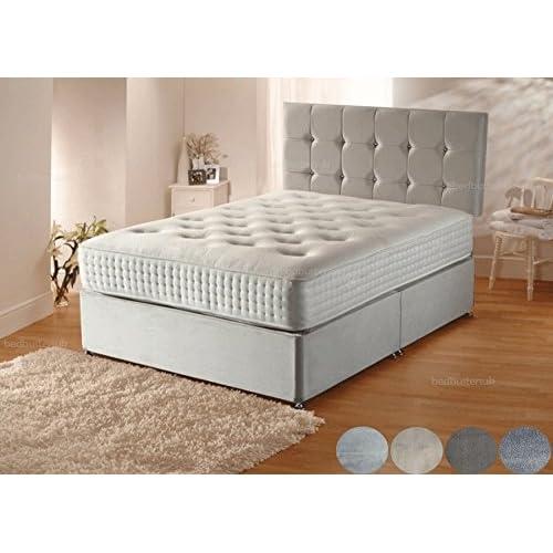 15dbb27375b9 Sleep Factory Ltd Plush Velvet Divan Bed Set with Orthopaedic Mattress,Headboard  and 2 Free
