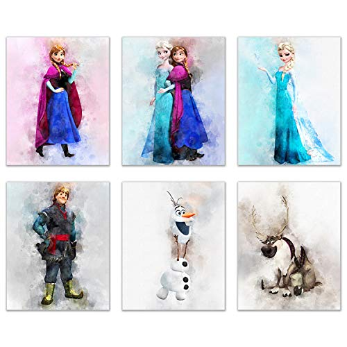 Frozen Watercolor Wall Decor - Set of 6 (8 inches x 10 inches) Poster Prints - Elsa Anna Olaf Kristoff