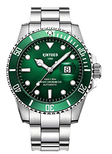New KINYUED Water Ghost Series Classic Luxury Men's Automatic Watch Stainless Steel Waterproof Mechanical Watch (Silver Green)