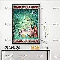マーメイドと彼女はポスター、休暇の海、夏の時間の家の装飾のキャンバス、マーメイドのバスルームのワインアートプリント、フレームなし50x70cmの後に幸せに暮らしました