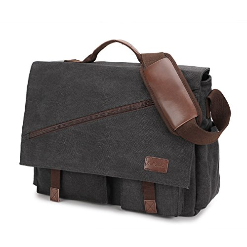 Mens Messenger Bag,15.6 Inch Water Resistant Canvas Satchel Casual Laptop Shoulder Bag Briefcase Crossbody Daybag Vintage Bookbag by RAVUO Black