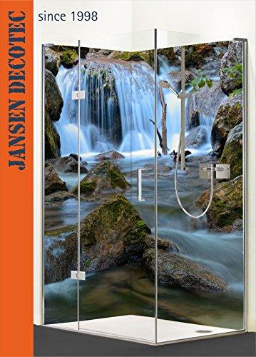 Eck - Duschrückwand, 2 Segmente je 90x200cm, Motiv: Wasserfall - KOSTENLOSER Zuschnitt auf Ihr Wunschformat !