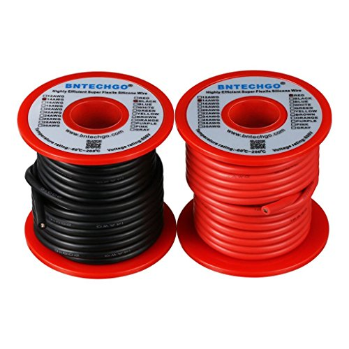 BNTECHGO 14 Gauge Silicone Wire Spool red and Black Each 25ft Flexible 14 AWG Stranded Copper Wire