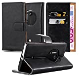Cadorabo Book Case Compatible with Nokia Lumia 1020 in Graphite Black - with Magnetic Closure, Stand Function and Card Slot - Wallet Etui Cover Pouch PU Leather Flip