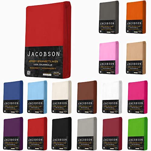 Jacobson Jersey Spannbettlaken Spannbetttuch für WASSERBETT BOXSPRINGBETT (180 x 200 cm - 200 x 220 cm, Bordeaux)