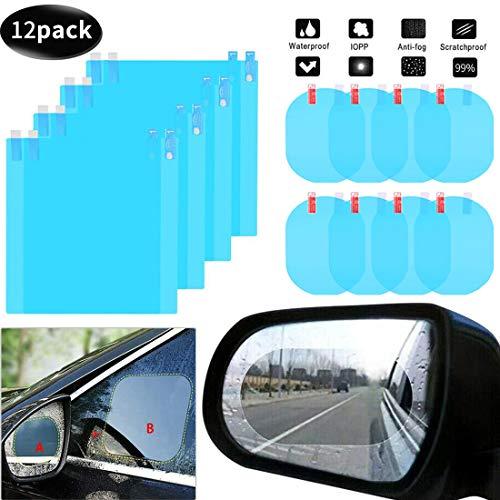 12 Stück Anti-Beschlag-Folie Auto Rückspiegel Folie Schutz für Auto Toter-Winkel Spiegel Spiegel Aufkleber Transparent HD Glas Autozubehör