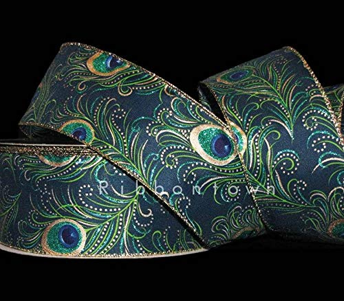 5 Yards Peacock Feathers Deep Blue Green Gold Glitter Accented Wired Ribbon 2 1/, Beading, Jewelry Making, DIY Crafting, Arts & Sewing by Perfect Beads Store