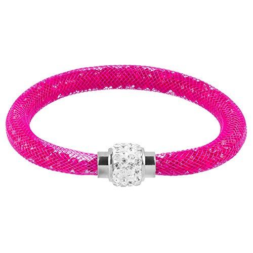 Mianova Damen Armband Armreif Stardust mit Kristallen Glitzerkugel und Magnetverschluß Fuchsia