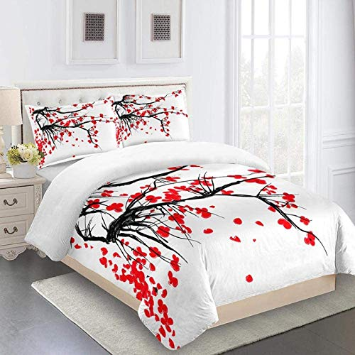 YCLJFQY Bedding Super King 260X220cm Duvet Cover Set 3 Pcs With Zipper Closure Ink Red Plum Blossom Soft Microfibre Hypoallergenic Home Quilt Cover Set With 2 Pillowcases 50X75cm
