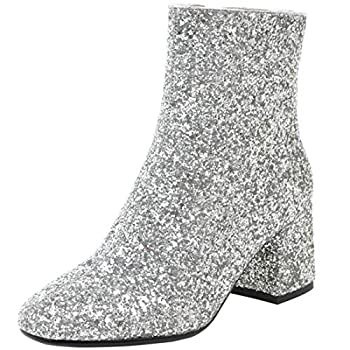 MAVMAX Women s Sequin Glitter Ankle Boots Chunky Heels Sparkly Booties US 8.5 Silver