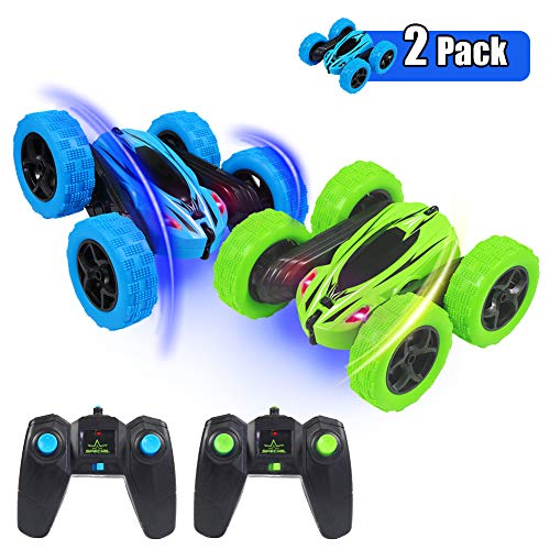 ThinkMax 2 Stück Ferngesteuertes Auto Stunt Auto für Kinder, 4WD 2,4 GHz RC Stunt Auto, 360 Spins und Flips Tumbling Spielzeugauto, Blau + Grün