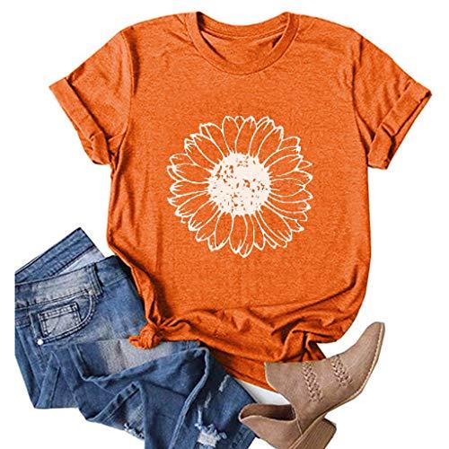 Sunflower Shirts for Women Plus Size Cute Graphic Tee Faith Tops Casual Shirts Orange