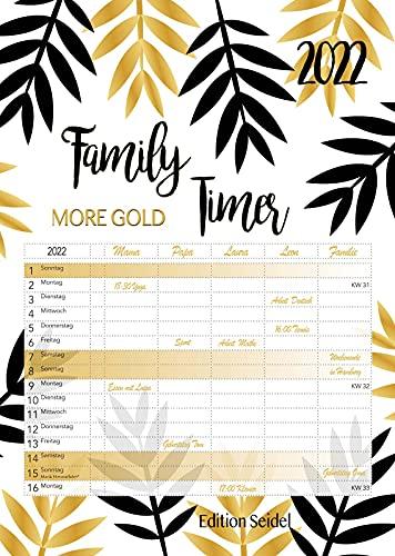 Premium Familienplaner Gold XL 2022 Familienkalender Familientimer Family Timer DIN A3 Wandkalender Kalender Familie 5 Spalten schwarz weiß
