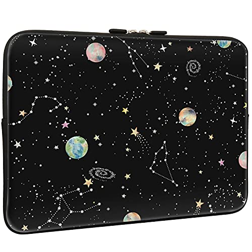 Lapac Black Starry Sky Laptop Sleeve Bag 15.6 Inch, Water Repellent Neoprene Light Weight Computer Skin Bag, Space Pattern Notebook Carrying Case Cover Bag for 15/15.4/16 Inch MacBook Pro, MacBook Air