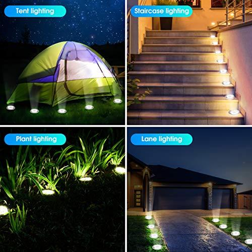 Solar Ground Lights, HOFDG 8 LED Solar Lights Outdoor, Waterproof Solar Garden Lights, 8 Pack Disk Lights, Landscape Lighting for Lawn Ground Pathway Yard Driveway Walkway Patio (White)