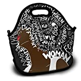 SARA NELL Neoprene Lunch Bag African American Women Letter Hair Art Lunch Tote Travel Picnic Lunch Backpack Lunchbox Handbag with Adjustable Shoulder Strap for Women Teens Girls Kids