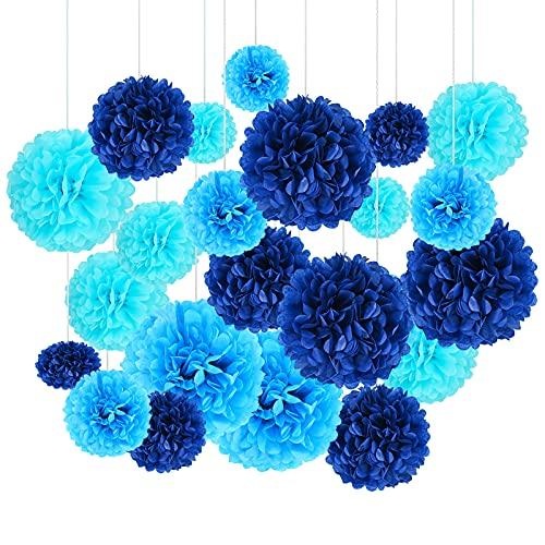 """24 Pompones de Papel de Seda Mezclados, 6""""y 8"""" y 10""""y 12"""" Pompones para Colgar Guirnaldas de Bolas de Flores de Papel para Decoración de Cumpleaños, Baby Shower, Bodas, Fiestas, Azul"""