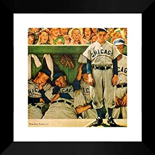 Cubs Dugout 20x20 Framed Art Print by Norman Rockwell