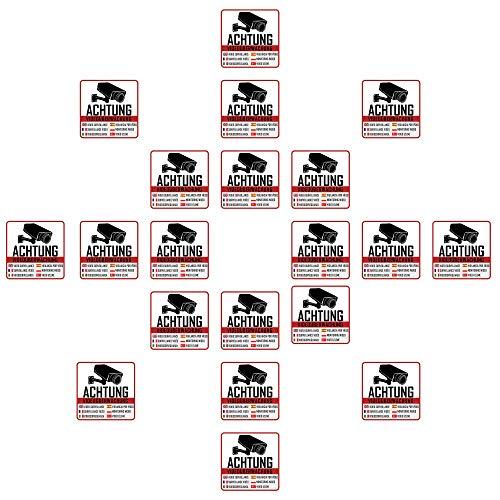 20 Videoüberwachung Aufkleber Videoüberwachung (20 Stück) 5 x 5 cm