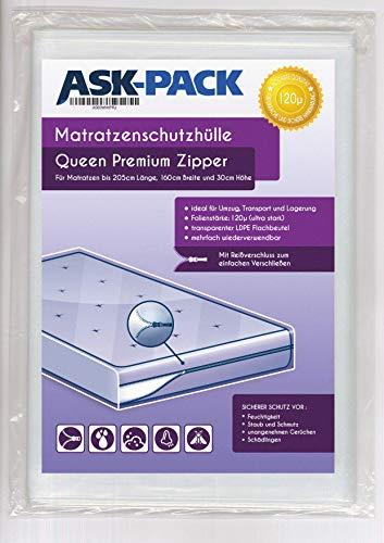 ASK Pack Custodia Materasso Premium Queen - con Cerniera Lampo - per Materasso da Larghezza 160cm / Altezza 30cm / Lunghezza 200cm- Extra Forte 120µ