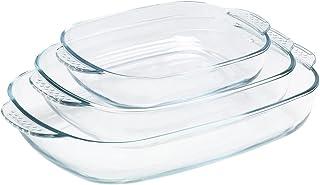 KÖKSKUNGEN - 3 st ugnsformar i borosilikatglas. Innehåller ugnsfast glasform 1,4 L (24x17 cm), 2,6 L (30x22 cm) och 4,3 L...