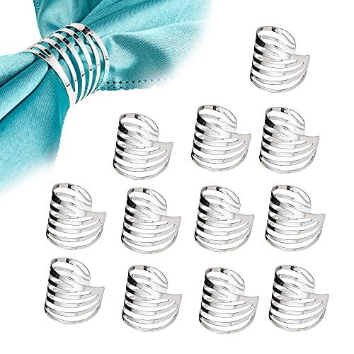 Feyarl 12 Stück Serviettenringe Metall Serviettenschnalle für Hochzeit Geburtstag Weihnachten Esstisch (Silber)