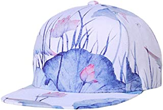 ACVIP Men's Chinese Ink Paint Lotus Blossom Flat Baseball Cap