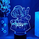 Decor Lamps Monkey D. Luffy Silhouette Laser Engraved 3D Illusion Lamp Anime One Piece Figurine LED Sensor Lights Kids Xmas Gift Bedroom SHKJ