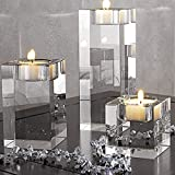 DecentGadget Glass Tealight Candle Holder//Portacandele in Vetro per Decorazioni Natalizie (Solo 4cm)