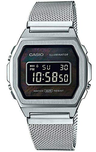 Casio A1000M-1BVT Vintage Iconic Stainless Steel Mesh Band Alarm Chronograph Digital Watch