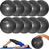Mambo Max 10 unidades – Mvs pelota 17-19 cm suave + 2 tapones + pajita, pilates gimnasia Yoga Gym Soft Over Ball negro