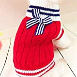 ZheJia Ropa de Oto?o Invierno Suéter Azul Marino para Perros Suéter Perro de Peluche Caniche Suéter para Mascotas Red S