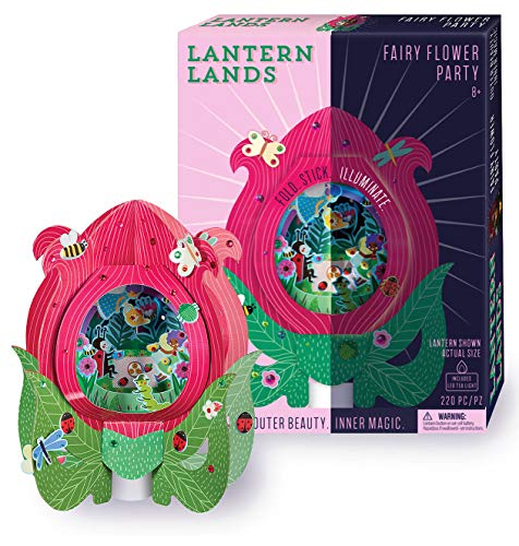 Bright Stripes DIY Lantern Lands Fairy Flower Party 3D Paper Lantern Craft Kit - Magical Craft Kit for Kids Creates a 3D Paper Lantern with LED Tea Light - Fun Kids Activity can be used as Night Light