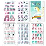 Allstarry 120pcs 5 pack Children Nails Press on Pre-glue Full Cover Glitter...