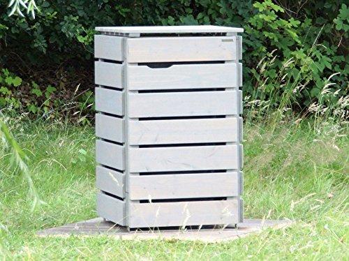 1er Mülltonnenbox / Mülltonnenverkleidung 240 L Holz, Grau Geölt - 3