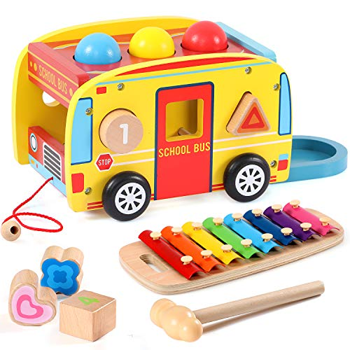 Lewo Pounding Bench with Slide Out Xylophone Wooden Pounding Toy Early Educational Toys for Kids Toddlers