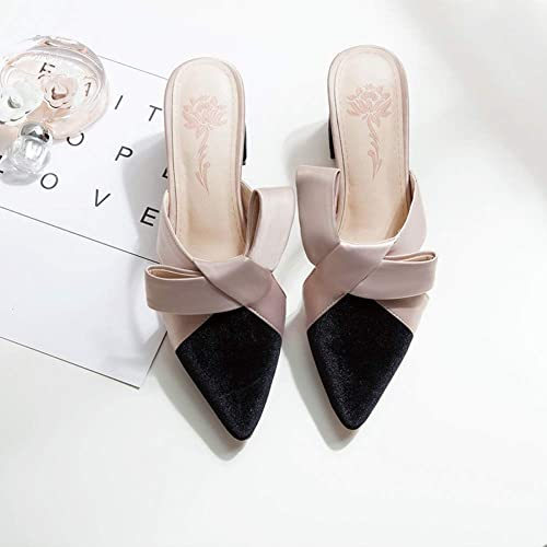 rouge LIU Chaussures Les Les Les Les dames de Mode Chaussures d'été Les Les dames 2019 Nouvelles Pantoufles Baotou Pointues épaisses avec des Sandales Chaussures Femmes c28